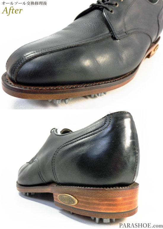フットジョイ(FootJoy)スワールモカ ゴルフシューズ 黒 オールソール交換修理(靴底張替え修繕リペア)/レザーソール(革底)+革積み上げヒール+ソフトスパイク鋲(ミリサイズ)-グッドイヤーウェルト製法 修理後のウェルト部分とヒール革積み上げ部分