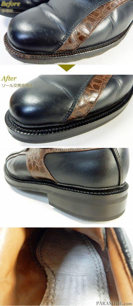 FootJoy(フットジョイ)ICON(アイコン)ゴルフシューズ 黒 オールソール交換修理(靴底張替え修繕リペア)/ラバーソール(黒)+ソフトスパイク鋲(ミリサイズ)-ブラックラピド製法 修理前と修理後のウェルト交換部分と中底の二重(ダブル)マッケイ縫い部分
