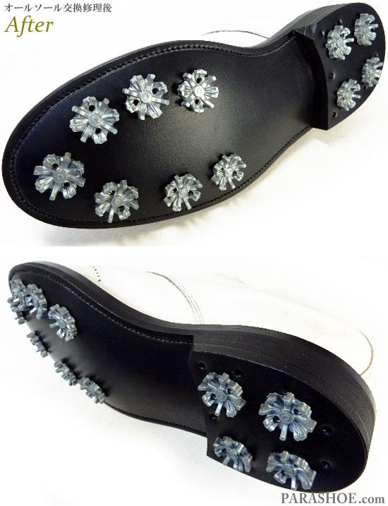FootJoy(フットジョイ)ICON(アイコン)ゴルフシューズ 白 オールソール交換修理(靴底張替え修繕リペア)/ラバーソール(黒)+ソフトスパイク鋲(ミリサイズ)-ブラックラピド製法 修理後のソール底面