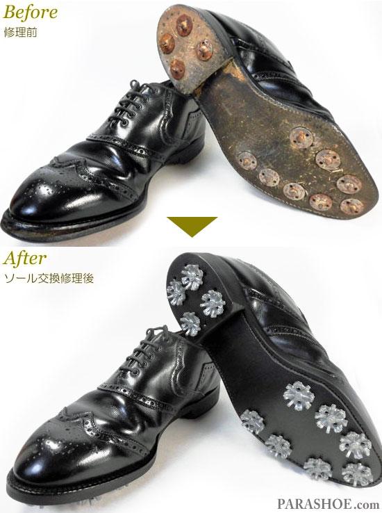 FootJoy(フットジョイ)ウィングチップ ゴルフシューズ 黒 オールソール交換修理(靴底張替え修繕リペア)/ラバーソール(黒)+ソフトスパイク鋲(ミリサイズ)-グッドイヤーウェルト製法 修理前と修理後