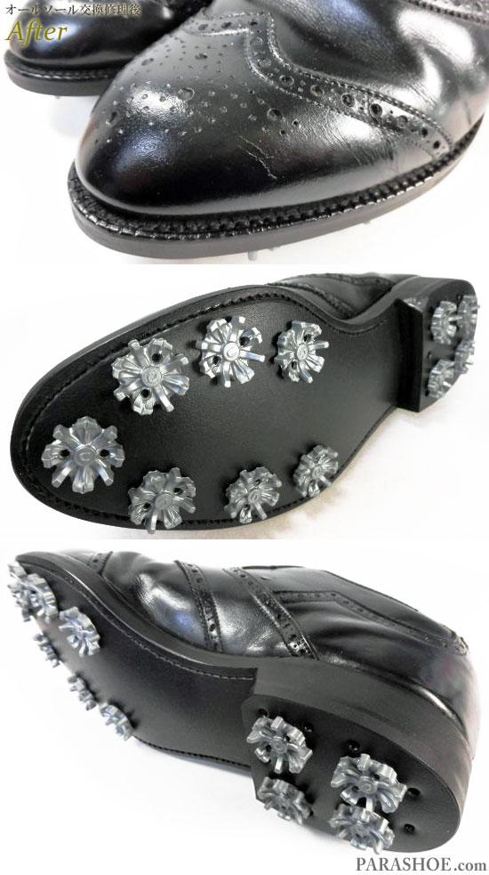 FootJoy(フットジョイ)ウィングチップ ゴルフシューズ 黒 オールソール交換修理(靴底張替え修繕リペア)/ラバーソール(黒)+ソフトスパイク鋲(ミリサイズ)-グッドイヤーウェルト製法 修理後のウェルト部分とソール底面