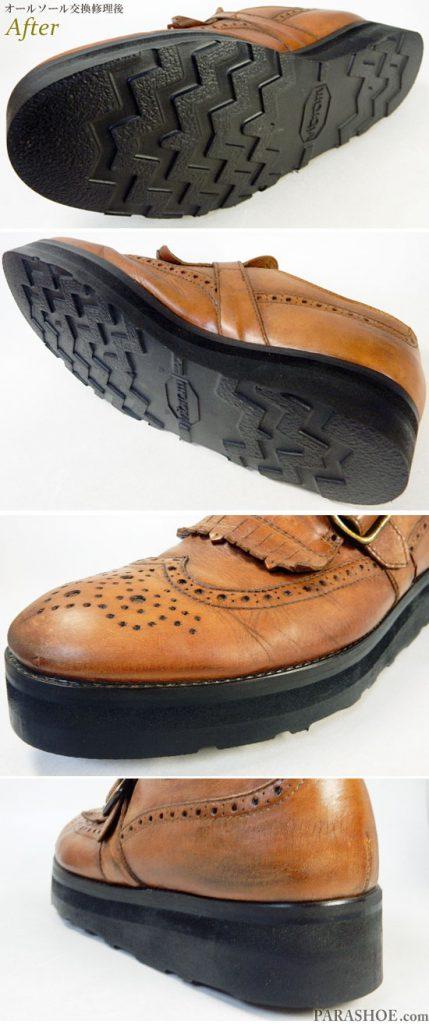 バーニーズ・ニューヨーク (Barneys New York)キルトウィングチップ ドレスシューズ(メンズ 革靴・ビジネスシューズ・紳士靴)オールソール交換修理(靴底張替え修繕リペア)/ビブラム(Vibram)4014 黒+厚底(上げ底)へカスタム-マッケイ製法 修理後のソール側面と底面