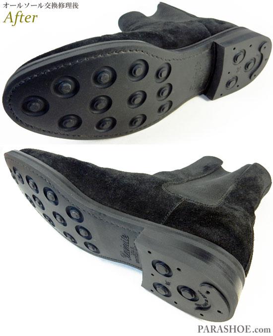 マインデニム(MINEDENIM)×ノンネイティブ(nonnative)サイドゴアブーツ カジュアルドレスシューズ 黒スエード(メンズ革靴・ビジネスシューズ・紳士靴)オールソール交換修理(靴底張替え修繕リペア)/ダイナイトソール(Dainite sole)-ブラックラピド製法 修理後のソール側面