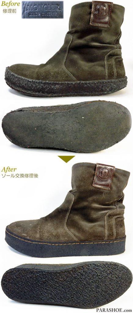 モンクレール(MONCLER)メンズ スエードブーツ(メンズ 革靴・カジュアルシューズ・紳士靴)オールソール交換修理(靴底張替え修繕リペア)/天然クレープソール(生ゴム)-オパンケ製法 修理前と修理後
