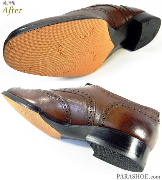 オリエンタル(Oriental)ウィングチップ ドレスシューズ 茶色(メンズ 革靴・ビジネスシューズ・紳士靴)ビブラム(vibram)ハーフソール(ハーフラバー)&ヒール(かかと)ゴムリフト交換修理(靴底補修リペア)修理後のソール底面