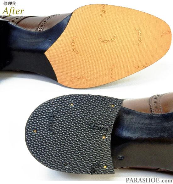 オリエンタル(Oriental)ウィングチップ ドレスシューズ 茶色(メンズ 革靴・ビジネスシューズ・紳士靴)ビブラム(vibram)ハーフソール(ハーフラバー)&ヒール(かかと)ゴムリフト交換修理(靴底補修リペア)修理後のつま先ソール部分とヒール部分