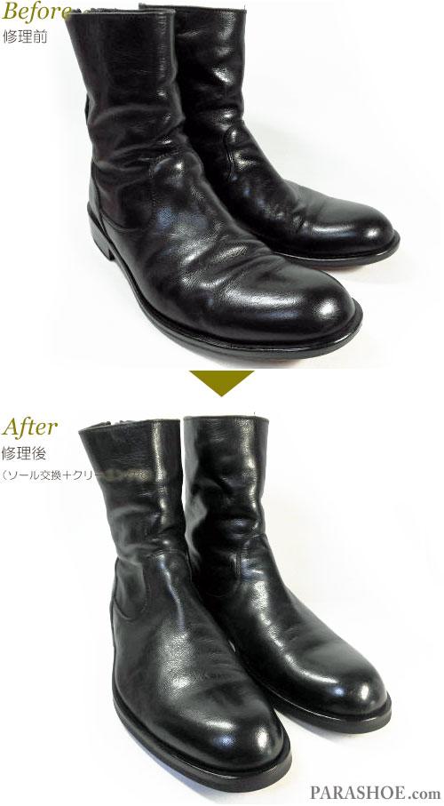 パドローネ(PADRONE)ジッパーブーツ カジュアルドレスシューズ 黒(メンズ革靴・紳士靴)丸洗いクリーニング前とクリーニング後