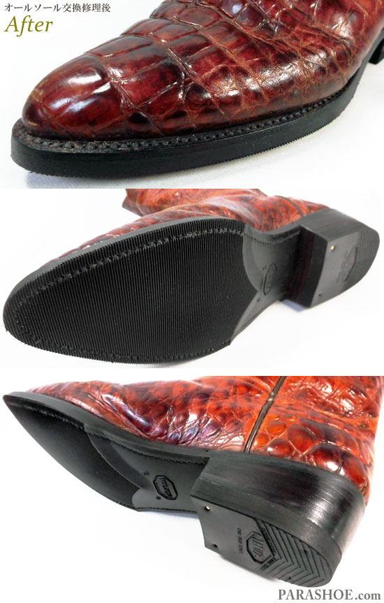 ルーデル(RUDEL)ウエスタンブーツ 茶色 オールソール交換修理(靴底張替え修繕リペア)/ビブラム(Vibram)269 黒+革積み上げヒール(ヒール高めに変更)-グッドイヤーウェルト製法 修理後のウェルト部分とソール底面