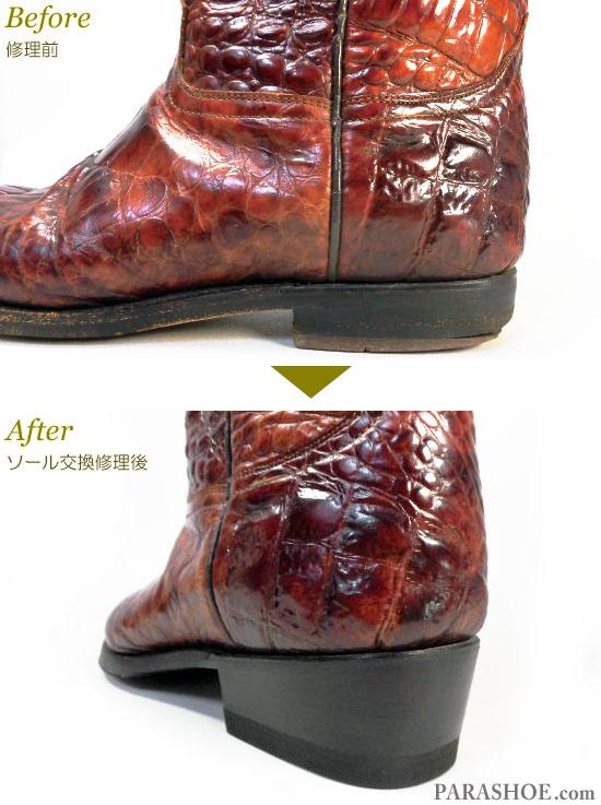 ルーデル(RUDEL)ウエスタンブーツ 茶色 オールソール交換修理(靴底張替え修繕リペア)/ビブラム(Vibram)269 黒+革積み上げヒール(ヒール高めに変更)-グッドイヤーウェルト製法 修理後のヒール部分