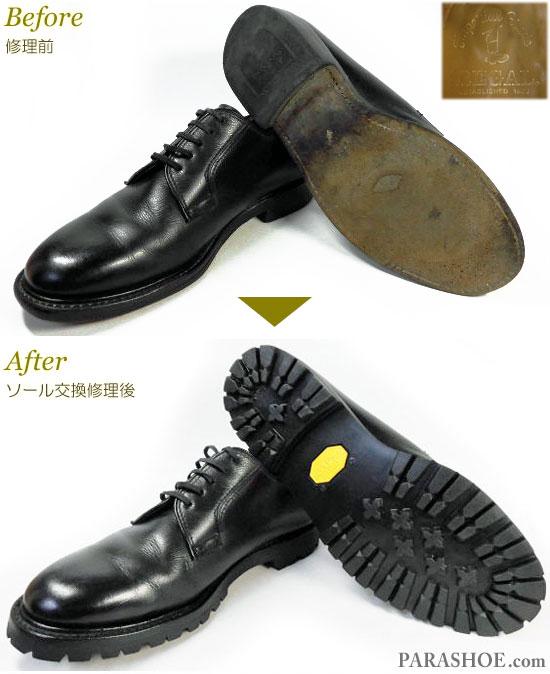 リーガル(REGAL)2236 プレーントゥ ドレスシューズ 黒(メンズ 革靴・ビジネスシューズ・紳士靴)オールソール交換修理(靴底張替え修繕リペア)/ビブラム(vibram)1136 黒-グッドイヤーウェルト製法 修理前と修理後