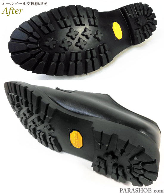 リーガル(REGAL)2236 プレーントゥ ドレスシューズ 黒(メンズ 革靴・ビジネスシューズ・紳士靴)オールソール交換修理(靴底張替え修繕リペア)/ビブラム(vibram)1136 黒-グッドイヤーウェルト製法 修理後のソール底面