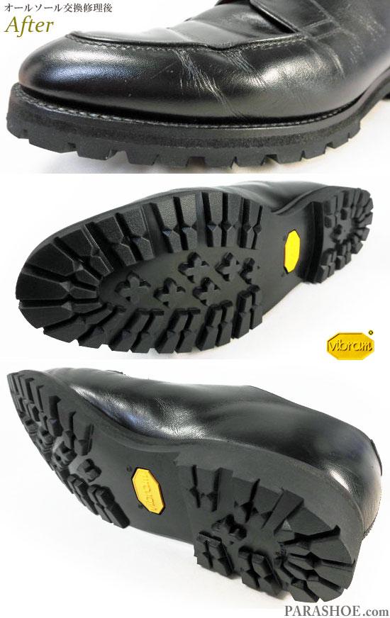 リーガル(REGAL)オーダーメイド(Built to order system)Uチップ ドレスシューズ 黒(メンズ 革靴・ビジネスシューズ・紳士靴)オールソール交換修理(靴底張替え修繕リペア)/ビブラム(vibram)1136 黒-グッドイヤーウェルト製法 修理後のウェルト部分とソール底面