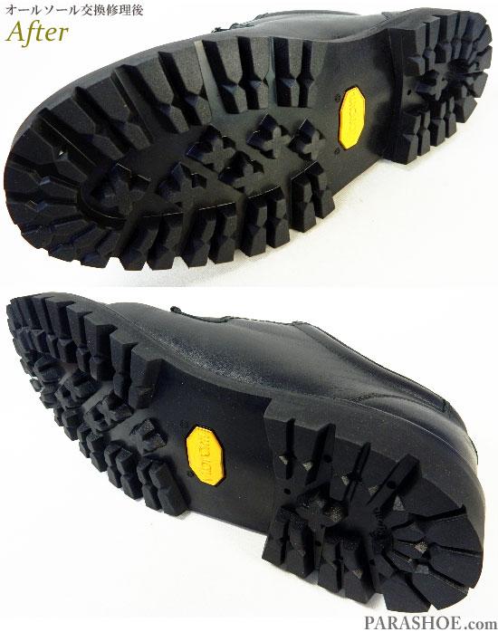 リーガルウォーカー(Regal Walker)601W プレーントゥ ドレスシューズ 黒(メンズ 革靴・ビジネスシューズ・紳士靴)オールソール交換修理(靴底張替え修繕リペア)/ビブラム(vibram)1100 黒-ステッチダウン製法 修理後のソール底面
