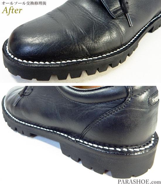 リーガルウォーカー(Regal Walker)601W プレーントゥ ドレスシューズ 黒(メンズ 革靴・ビジネスシューズ・紳士靴)オールソール交換修理(靴底張替え修繕リペア)/ビブラム(vibram)1100 黒-ステッチダウン製法 修理後のステッチ(出し縫い)部分