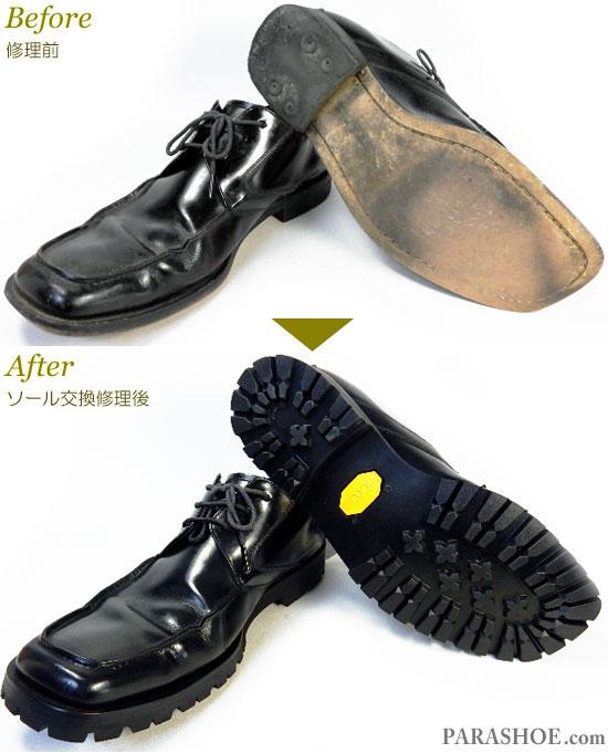 リーガル(REGAL)Y129 Uチップ ドレスシューズ 黒(メンズ 革靴・ビジネスシューズ・紳士靴)オールソール交換修理(靴底張替え修繕リペア)/ビブラム(vibram)1136 黒-マッケイ製法 修理前と修理後