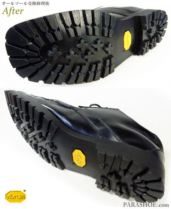 リーガル(REGAL)Y129 Uチップ ドレスシューズ 黒(メンズ 革靴・ビジネスシューズ・紳士靴)オールソール交換修理(靴底張替え修繕リペア)/ビブラム(vibram)1136 黒-マッケイ製法 修理後のソール底面