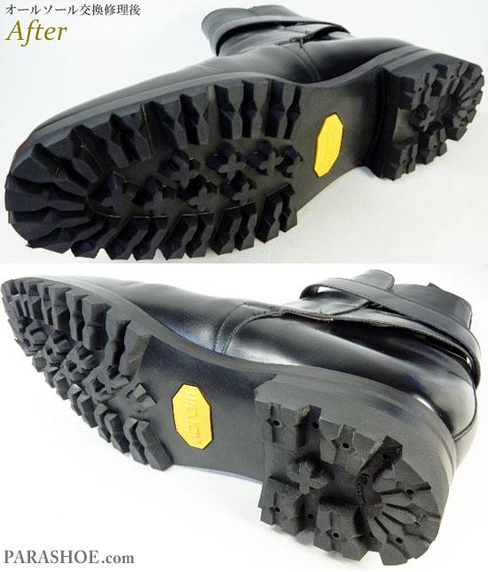 チャーチ(Church's)ジョッキーブーツ ドレスシューズ 黒(メンズ革靴・ビジネスシューズ・紳士靴)オールソール交換修理(靴底張替え修繕リペア)/ビブラム(Vibram)100 黒+ダブルレザーミッドソール+革積み上げヒール-グッドイヤーウェルト製法 修理後のソール底面