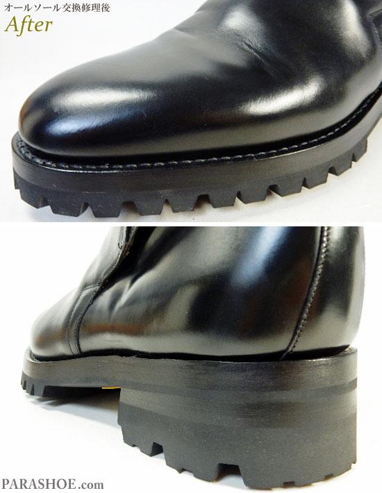 チャーチ(Church's)ジョッキーブーツ ドレスシューズ 黒(メンズ革靴・ビジネスシューズ・紳士靴)オールソール交換修理(靴底張替え修繕リペア)/ビブラム(Vibram)100 黒+ダブルレザーミッドソール+革積み上げヒール-グッドイヤーウェルト製法 修理後のつま先とヒール部分