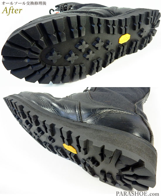 ダナー(Danner)アケーディア(ACADIA)ワークブーツ 黒(メンズ革靴・カジュアル紳士靴)オールソール交換修理(靴底張替え修繕リペア)/ビブラム(Vibram)148 黒-ステッチダウン製法 修理後のソール底面