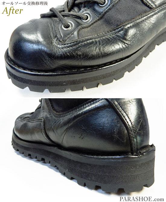 ダナー(Danner)アケーディア(ACADIA)ワークブーツ 黒(メンズ革靴・カジュアル紳士靴)オールソール交換修理(靴底張替え修繕リペア)/ビブラム(Vibram)148 黒-ステッチダウン製法 修理後のウェルト部分とヒール(かかと)