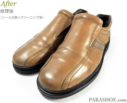 エコー(ecco)カジュアルスリッポン レザースニーカー 茶色(メンズ革靴・紳士靴)革靴丸洗いクリーニング前とクリーニング後
