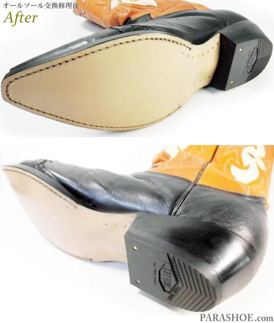 ジャスティン(JUSTIN)ウエスタンブーツ 黒×茶色 オールソール交換修理(靴底張替え修繕リペア)/レザーソール(革底)+革積み上げヒール(ヒール高めに変更)-グッドイヤーウェルト製法 修理後のソール底面