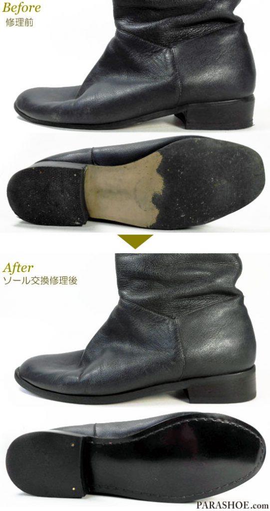 レディース ロングブーツ ネイビー(紺色)婦人靴 オールソール交換修理(靴底張替え修繕リペア)/合成ゴムソール+革積み上げヒール-マッケイ製法 修理前と修理後