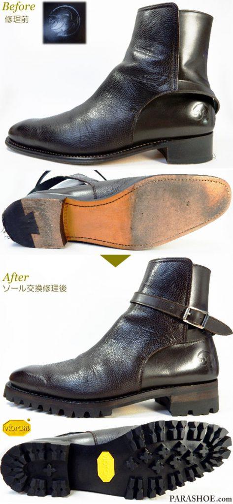 ジョッキーブーツ ドレスシューズ ダークブラウン(メンズ革靴・ビジネスシューズ・紳士靴)オールソール交換修理(靴底張替え修繕リペア)/ビブラム(Vibram)100 黒+レザーミッドソール+革積み上げヒール-グッドイヤーウェルト製法 修理前と修理後