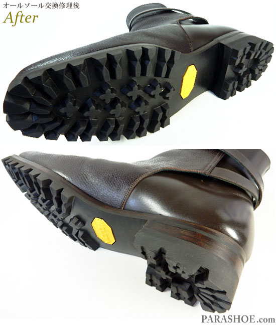 ジョッキーブーツ ドレスシューズ ダークブラウン(メンズ革靴・ビジネスシューズ・紳士靴)オールソール交換修理(靴底張替え修繕リペア)/ビブラム(Vibram)100 黒+レザーミッドソール+革積み上げヒール-グッドイヤーウェルト製法 修理後の底面