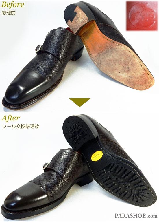 ダブルモンクストラップ ドレスシューズ ダークブラウン(メンズ革靴・ビジネスシューズ・紳士靴)オールソール交換修理(靴底張替え修繕リペア)/ビブラム(Vibram)430 黒+レザーミッドソール+革積み上げヒール-グッドイヤーウェルト製法 修理前と修理後
