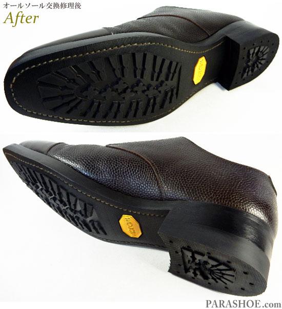 ダブルモンクストラップ ドレスシューズ ダークブラウン(メンズ革靴・ビジネスシューズ・紳士靴)オールソール交換修理(靴底張替え修繕リペア)/ビブラム(Vibram)430 黒+レザーミッドソール+革積み上げヒール-グッドイヤーウェルト製法 修理後のソール底面