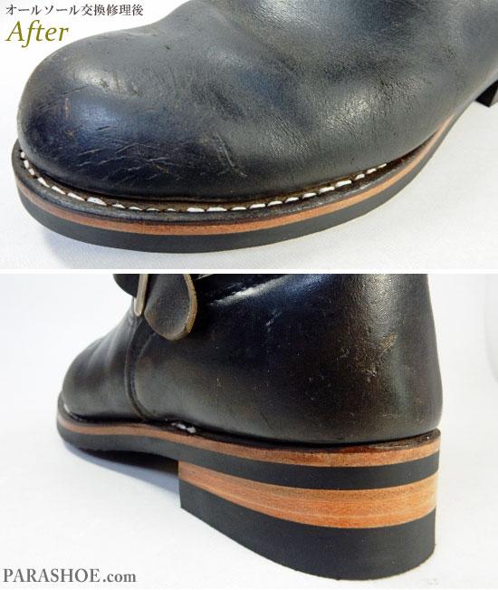 レッドウィング(RED WING)エンジニアブーツ 黒(メンズ 革靴・カジュアルシューズ・紳士靴)オールソール交換修理(靴底張替え修繕リペア)/ビブラム(vibram)700(黒)+レザーミッドソール+革積み上げヒール-グッドイヤーウェルト製法&革インソール&音鳴り補修 修理後のウェルト部分とヒール部分