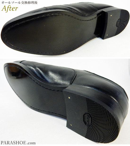 リーガル(REGAL)11KR ストレートチップ ドレスシューズ 黒(メンズ 革靴・ビジネスシューズ・紳士靴)オールソール交換修理(靴底張替え修繕リペア)/合成ゴムラバーソール(リーガルタイプ)黒+革積み上げヒール+ビブラム(Vibram)ゴムリフト-マッケイ製法 修理後のソール底面