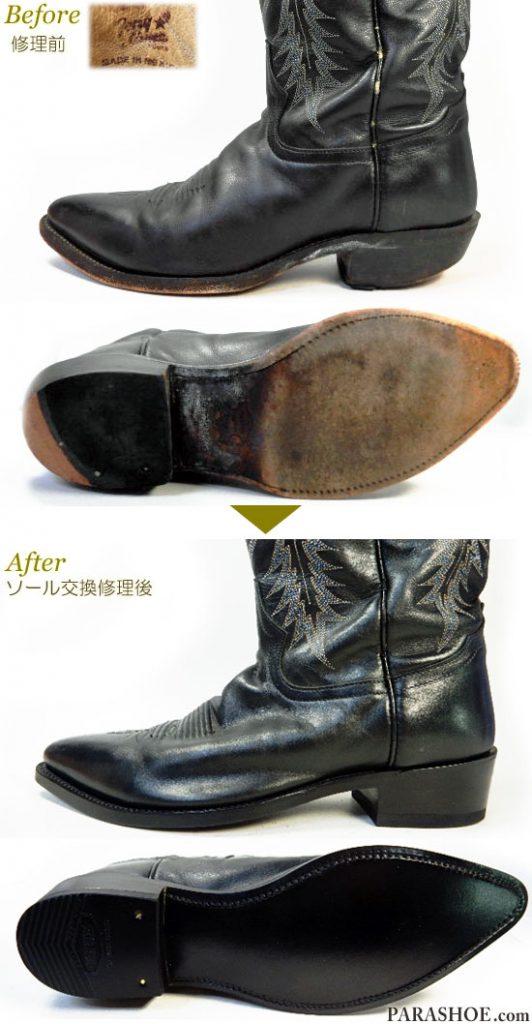 トニーラマ(Tony Lama)ウエスタンブーツ 黒 オールソール交換修理(靴底張替え修繕リペア)/レザーソール(革底)+革積み上げヒール&黒カラス仕上げ-グッドイヤーウェルト製法 修理前と修理後