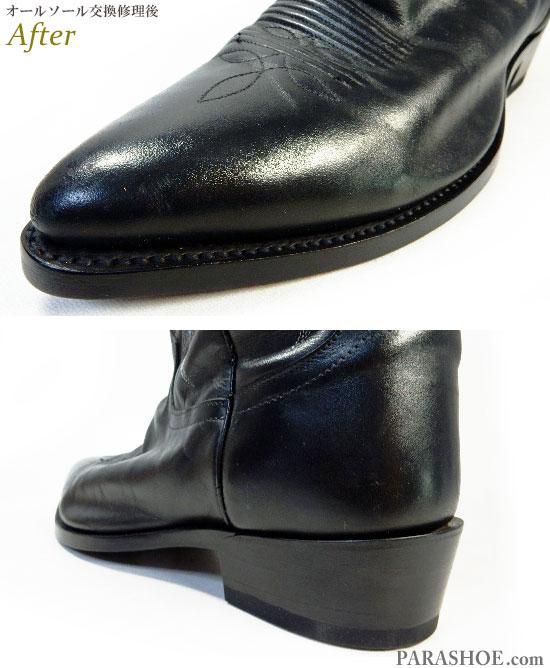 トニーラマ(Tony Lama)ウエスタンブーツ 黒 オールソール交換修理(靴底張替え修繕リペア)/レザーソール(革底)+革積み上げヒール&黒カラス仕上げ-グッドイヤーウェルト製法 修理後のつま先ウェルト部分とヒール部分