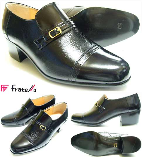 Fratello 本革 スリップオン ヒールアップシューズ 黒 23.5cm・24cm[小さいサイズ・紳士革靴]靴のパラダイス