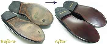 セバゴ(SEBAGO)のローファー、ソール交換修理前と修理後