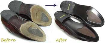 スコッチグレイン(SCOTCH GRAIN)の革靴、ソール交換修理前と修理後
