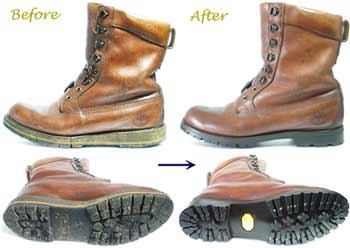 ティンバーランドのブーツ、ソール交換修理前と修理後
