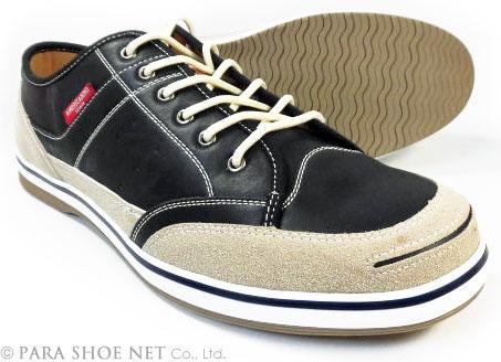 AMERICANINO(EDWIN)レザースニーカー カジュアルシューズ ブラック(黒色)ワイズ3E(EEE)27.5cm、28cm(28.0cm)、29cm(29.0cm)、30cm(30.0cm)【大きいサイズ(ビッグサイズ)メンズ紳士靴】