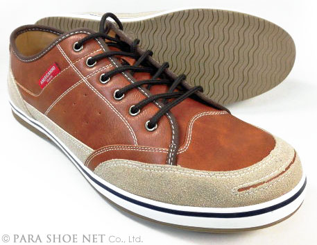 AMERICANINO(EDWIN)レザースニーカー カジュアルシューズ ブラウン(茶色)ワイズ3E(EEE)27.5cm、28cm(28.0cm)、29cm(29.0cm)、30cm(30.0cm)【大きいサイズ(ビッグサイズ)メンズ紳士靴】
