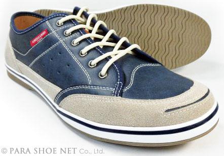 AMERICANINO(EDWIN)レザースニーカー カジュアルシューズ ネイビー(紺色)ワイズ3E(EEE)27.5cm、28cm(28.0cm)、29cm(29.0cm)、30cm(30.0cm)【大きいサイズ(ビッグサイズ)メンズ紳士靴】