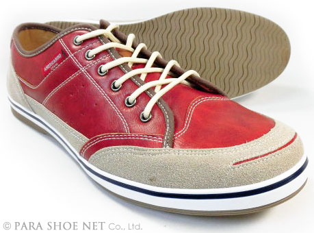AMERICANINO(EDWIN)レザースニーカー カジュアルシューズ レッド(赤色)ワイズ3E(EEE)27.5cm、28cm(28.0cm)、29cm(29.0cm)、30cm(30.0cm)【大きいサイズ(ビッグサイズ)メンズ紳士靴】