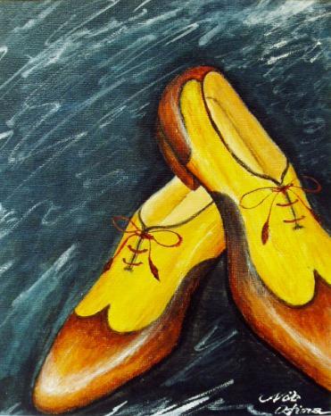 ホールカット コンビ ウィングチップ【靴(シューズ)の絵(絵画)・デザイン・アート・イラスト】