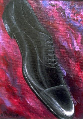 ブラック キャップトゥ(内羽根式ストレートチップ)【靴(シューズ)の絵(絵画)・デザイン・アート・イラスト】