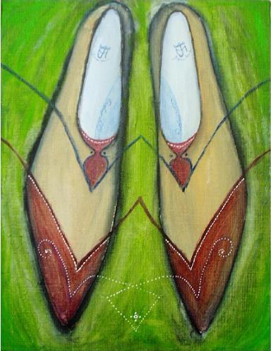 V字ウィングメダリオン【靴(シューズ)の絵(絵画)・デザイン・アート・イラスト】