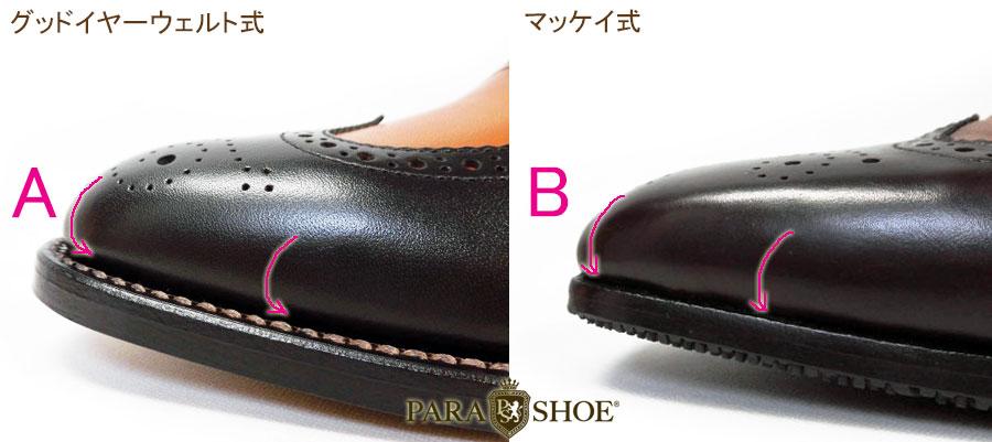 グッドイヤーウェルト製法の靴と、マッケイ製法の靴の写真、アッパー(甲革)形状違いの比較