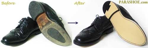 TUFF(タフ)British Classic(ブリティッシュ・クラシック)ウィングチップ紳士靴 のオールソール交換修理前と修理後
