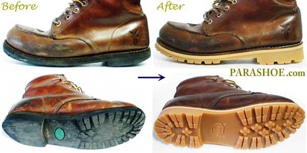 RYE(フライ)ブーツのオールソール交換修理前と修理後