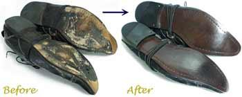 アルフレッド・バニスター(alfredo BANNISTER)カジュアルレザーシューズのオールソール交換修理前と修理後